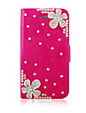 Flower Zircon PU Leather Full Body Case for iPhone 4/4S(Assorted Color)