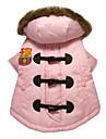 애완 동물 개를위한 후드 (분류 된 색깔, 크기)를 가진 사랑스러운 OX-경적 단추 따뜻한 핑크 코트