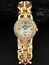 Blanc Simple Cadran or en cristal d'alliage d'argent de bracelet de montre de quartz de femmes