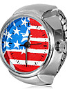 Women's US Flag Pattern Silver Alloy Quartz Ring Watch Cool Watches Unique Watches