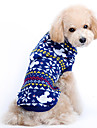 Dog Sweater Dog Clothes Cute Christmas Snowflake Blue Costume For Pets