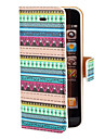 Aztec Blue and Green Stripe Pattern PU Full Body Case with Card Slot and Stand for iPhone 5/5S