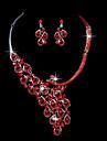 cristal vermelho terno casamento pavão orelha brincos clipe colar