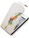 Feather Pen Up-Down Turn Over PU Leather Full Bady Case for iPhone 4/4S
