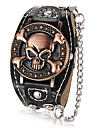 Crâne Motif Hommes cadran rond PU bande de quartz analogique montre-bracelet