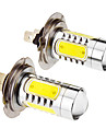 H7 7.5W 5-LED 6000K fresco Lampada LED de luz branca para o carro (12-24V, 2pcs)