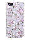 Pink Flower and Leaf Pattern PU Leather Full Body Case for iPhone 5/5S
