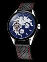 สำหรับผู้ชาย นาฬิกาเห็นกลไกจักรกล ไขลานอัตโนมัติ ยางทำจากซิลิคอน ดำ กันน้ำ แกะสลักกลวง ระบบอนาล็อก ขาว สีดำ
