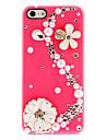 섬세한 꽃과 진주 S-모양의 다이아몬드 아이폰 5/5S (분류 된 색깔)를위한 네일 접착제로 하드 케이스 커버