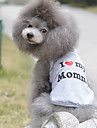 Cat Dog Shirt / T-Shirt Dog Clothes Breathable Cute Casual/Daily Birthday Hearts Gray Costume For Pets