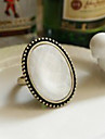 European White Oval Adjustable Ring
