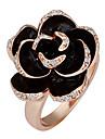 Ouro banhado a ouro rosa anéis declaração doce das mulheres (preto) (1 Pc)