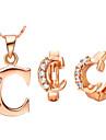 lettre de l'alphabet c argent plaqué or (colliers&Boucles d'oreilles) des ensembles de bijoux de mariage