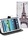 Pour Samsung Galaxy Coque Porte Carte / Avec Support / Clapet / Motif Coque Coque Integrale Coque Tour Eiffel Cuir PU Samsung S2