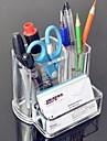Acrilico 2en1 transparente envase de la pluma del cepillo del pote y tarjeta de visita del sostenedor del caso