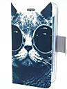 Smart Cat with Eyes PU Leather Case for iPhone 4/4S