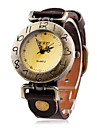 여자의 포도 수확 번호 헤더 PU 밴드 석영 아날로그 손목 시계 (분류 된 색깔)