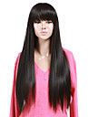 High Quality Synthetic Capless Long Straight Natural Black Full Bang Wig