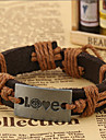 Classic Archaistic 20cm Men's Assorted Color Leather Strand Bracelet(Black,Dark Brown,Brown,Dark Red)(1 Pc)