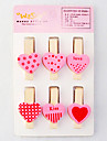 Pink Love Pattern Mini Wooden Clamp (6-Pack)