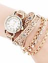 황금 여자의 사슬 패턴 모조 다이아몬드 (분류 된 색깔)로, PU 밴드 석영 아날로그 손목 시계 다이얼