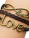 Shixin® European Love 18cm Women's Brown Leather Wrap Bracelet(1 Pc)