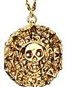 Homme Piece de monnaie Pendentif de collier - Crane Retro Bronze, Dore Colliers Tendance Bijoux Pour Regalos de Navidad, Soiree, Quotidien