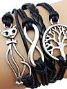 (1 Pc)European 23cm Women's Black Fabric Wrap Bracelet