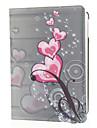 Red Love Heart Motif PU Leather Face et PC Quatrième de couverture 360 ° du corps de cas complète tournante pour l'iPad Air