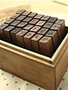 Ξύλινες Σφραγίδες 28 Alphabet Letter Πεζά Antique Ξύλινα Σφραγίδα