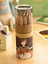 modello di ragazza dei cartoni animati 12 matite colorate (12 pezzi / set) per scuola / ufficio