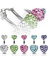 Lureme®316L Surgical Titanium Steel Crystal Loving Heart Pendant Navel Ring(Random Color) Christmas Gifts