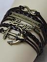 Vintage Anchors 8 word LOVE 18cm Unisex  Leather Wrap Bracelet(1 Pc)
