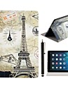 Eiffel and Stamps Pattern PU Leather Full Body Case with Stand and A Stylus Touch Pen for iPad Air