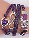 bracelets en cuir zircon charmes en alliage multicouches bracelets faits main