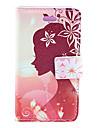 Perfeito Perfil Cara Padrão PU Leather Case Full Body da menina com Slot para cartão e pressão magnética para iPhone 4/4S