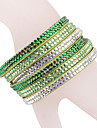 Leather Bracelet Multilayer Green Rhinestone Bracelet