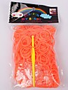 Miss ROSE® 600PCS Rainbow Color Loom Band(1Package S Clip+1pcs Hook,Orange)