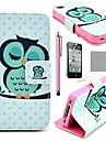 COCO FUN® Sleeping Owl Pattern PU Leather Full Body Case With Film, Stand And Stylus for iPhone 4/4S