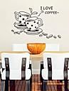 šalica za kavu u obliku moderne slatka plastična zidne naljepnice (crna boja x1pcs)