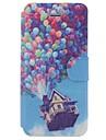Balões dos desenhos animados Chalet Pattern Caso de corpo inteiro com slot para cartão para o iPhone 5/5S
