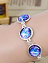 Galaxy Handmade DIY Starry Sky Time Gem Silver Alloy Glass Leather Warp Bracelet(1 Pc)