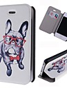 Glasses Dog Pattern Leather Full Body Case with Card Slot for iPhone 4/4S