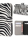 Zebra Stripes PU Leather Case Cover with Stand and Card Slot for Alcatel One Touch Pop C5