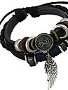 Men\'s Charm Bracelet Wrap Bracelet Unique Design Fashion Beaded Leather Alloy Others Jewelry Christmas Gifts Daily Costume Jewelry Black
