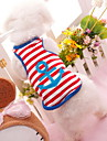 Dog Shirt / T-Shirt Dog Clothes Stripe Heart Red Blue Cotton Costume For Pets