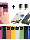 Case For Samsung Galaxy Samsung Galaxy Case with Windows Auto Sleep / Wake Flip Full Body Cases Solid Color PU Leather for S4