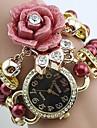 la montre à quartz de femmes a augmenté perle bande montre bracelet analogique