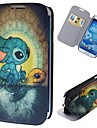 Cartoon Rabbits Pattern Full Body Case with Stand PU Leather Case for Samsung Galaxy S4 I9500