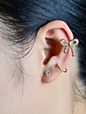 Ear Cuffs Earrings Set Alloy Rhinestone Simulated Diamond Golden Jewelry Wedding Party Daily Casual Sports